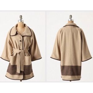 ANTHRO WOOLRICH Dipped Nugget Tan Wool Cape Coat